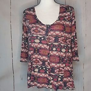 Lucky Brand Southwestern Style Button Down Top L